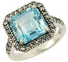Esse Marcasite-Anello in argento Sterling, con topazio blu taglio a smeraldo e _Marcasite-Anello, misura: 16