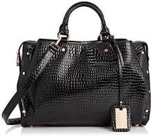 SwankySwans Ashton Croc Patent Leather Work, Borsa a secchiello donna