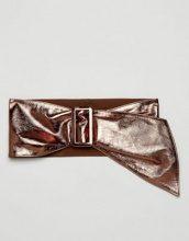 ASOS - Self Covered - Cintura a fascia in pelle metallizzata con fibbia rettangolare