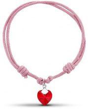 Jo for Girls-Bracciale con cordoncino rosa e cuore in cristallo Swarovski rosso effetto Aurora Boreale, lunghezza 14-27 cm