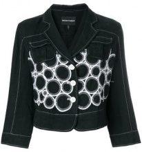 - Giorgio Armani Vintage - embroidered jacket - women - lino - 44 - di colore nero