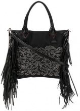 - Pinko - studded fringed media shopper tote - women - Polyester/Leather - Taglia Unica - Nero