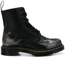 - Dr. Martens - flame - detail glittered boots - women - Rubber/PVC/Polyurethane/Polyester - 39, 36, 40 - Nero