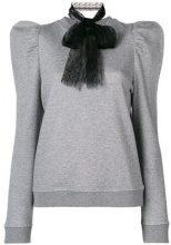 - Red Valentino - bow embellished knitted top - women - cotone/fibra sintetica - M - di colore grigio