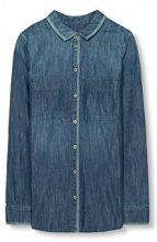 edc by Esprit 106cc1f015, Camicia Donna, Blu (Blue Medium Wash), 36 (Taglia Produttore: Small)