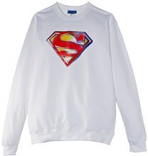 DC Comics - Felpa, Manica lunga, Donna, bianco (White), S