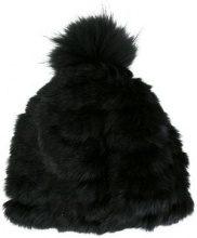 - Yves Salomon - Berretto - women - pelliccia di marmotta/pelliccia di coniglio/pelliccia di volpe - Taglia Unica - di colore nero