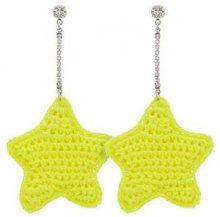 - Venessa Arizaga - Orecchini a stella - women - fibra sintetica/cristalli/ottone placcato in argento - Taglia Unica - di colore giallo