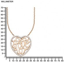 s. Oliver Collana da donna con ciondolo a forma di cuore/love in argento 925parzialmente placcato oro con zirconi bianchi taglio rotondo 45cm–540728