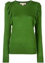 - Michael Michael Kors - frilled fitted sweater - women - cashmere/fibra sintetica - S - di colore verde