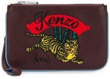 - Kenzo - Clutch ricamata - women - pelle di vitello/cotone/fibra sintetica - Taglia Unica - di colore rosso
