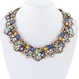 Ever Faith Stile art deco Dichiarazione Vintage collana multicolore austriaco di cristallo Gold-Tone N04130-1