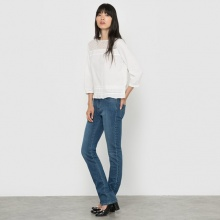 Jeans straight in denim stretch, vita normale