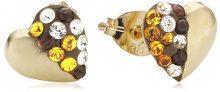 Crystelle 340320134 - Orecchini a lobo da donna con cristallo Swarovski, oro giallo 9k (375)