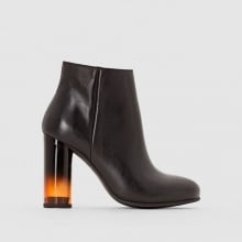 Boots in pelle con tacco fumé