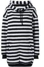 - A.F.Vandevorst - Felpa oversize a strisce - women - fibra sintetica/lana - S, M - di colore nero