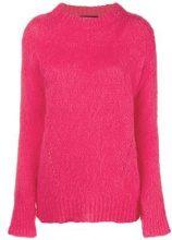 - Erika Cavallini - slit sleeve brushed sweater - women - mohair/alpaca/fibra sintetica - S, M, XS - di colore rosa