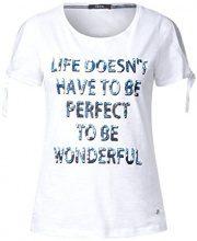 Cecil 311959, T-Shirt Donna, Bianco (White 30000), L