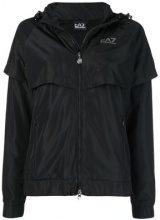 - Ea7 Emporio Armani - side logo zipped parka - women - fibra sintetica - XS, S - di colore nero