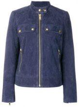 - Michael Michael Kors - Giacca di camoscio con zip - women - fibra sintetica/pelle di capra - M - di colore blu