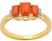 Jewelili Donna 9 carati oro giallo smeraldo arancione altro Topazio FASHIONRING