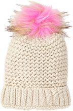 New Look Coloured Faux Fur Pom, Berretto in Maglia Donna (Pink NIU), Taglia Unica