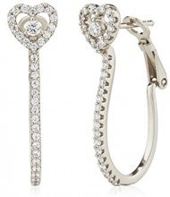 Ingenious Jewellery-Orecchini a cerchio in argento Sterling, a forma di cuore, EB4237/SIL