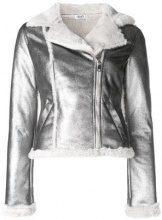 - Liu Jo - shearling biker jacket - women - Polyester - 42, 44 - Metallizzato