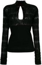 - Romeo Gigli Vintage - open back longsleeved blouse - women - fibra sintetica - 40 - di colore nero