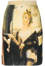 - Moschino - printed stretch skirt - women - Lana Vergine - 40, 42 - Multicolore