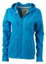 James & Nicholson - Kapuzenjacke Ladies' Vintage Hooded Sweatshirt, Giacca Donna, Turchese (turquoise), X-Large (Taglia Produttore: X-Large)