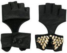- Karl Lagerfeld - fingerless party gloves - women - pelle - M/L, S/M - di colore nero