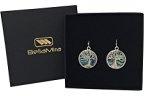 BellaMira - Orecchini in argento e guscio di Abalone Paua, 23 mm, motivo: Albero della Vita, colore: verde acqua con tonalità naturali