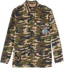 FIND Patch Detail Camouflage, Giacca Donna, Multicolore (Camo Green), XL