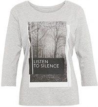 Tom Tailor Basic Print Shirt, T-Shirt Donna, Argento (Silver Melange 2527), Medium