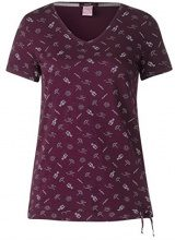 Cecil 312188, T-Shirt Donna, Rosso (Deep Loganberry 21343), XS