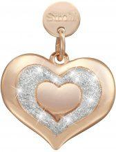 Cuore. Charm in argento 925 rosato e glitter per Donna