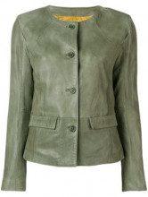 - S.W.O.R.D 6.6.44 - Giacca corta con design senza collo - women - fibra sintetica/pelle - 46 - di colore verde