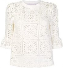 - See By Chloé - crocheted loose blouse - women - fibra sintetica - S - di colore bianco