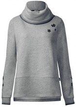 Cecil Velvet Flower Sweater, Felpa Donna, Grau (Middle Grey Melange 20253), Medium