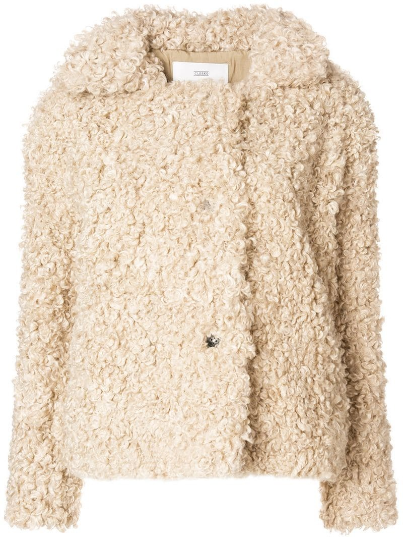 sintetica artificial XS Closed L fur fibra S jacket women fOXHTqX
