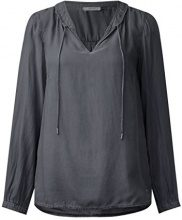 Cecil Washed Keyhole Blouse, Camicia Donna, Grau (Dark Silver 10126), Small