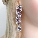 Ever Faith Impegno tono floreale argento orecchini pendenti foglia cristallo austriaco chiaro
