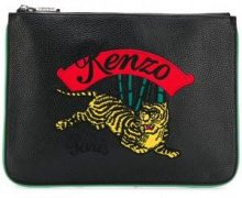 - Kenzo - Clutch Tiger - women - fibra sintetica/pelle di vitello/piuma coque - Taglia Unica - di colore nero