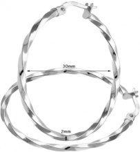 Citerna Orecchini a Cerchio da Donna, Oro Bianco 375/1000 9 Carati, Vetro