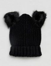 Half Cardigan - Berretto in maglia con 2 pompon in pelliccia sintetica