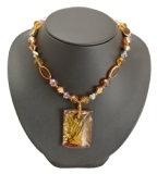 Bedazzled marrone rettangolo goccia collana in stile retrò con perline marrone, in confezione regalo