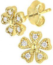 Citerna Orecchini da Donna, in Oro Giallo 9K, con Zirconia cubica, Taglio Brillante Rotondo