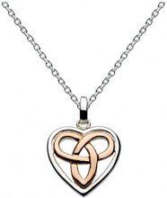 Heritage - Collana in argento Sterling, con ciondolo a forma di cuore con motivo celtico, lunghezza 45,7 cm, argento, colore: Rose Gold, cod. 92027RG