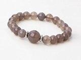 Beautiful 8-12 mm, forma rotonda, con pietre di agata grigia con perline-Set gioielleria collana e braccialetto, spediti in una lussuosa scatola-regalo